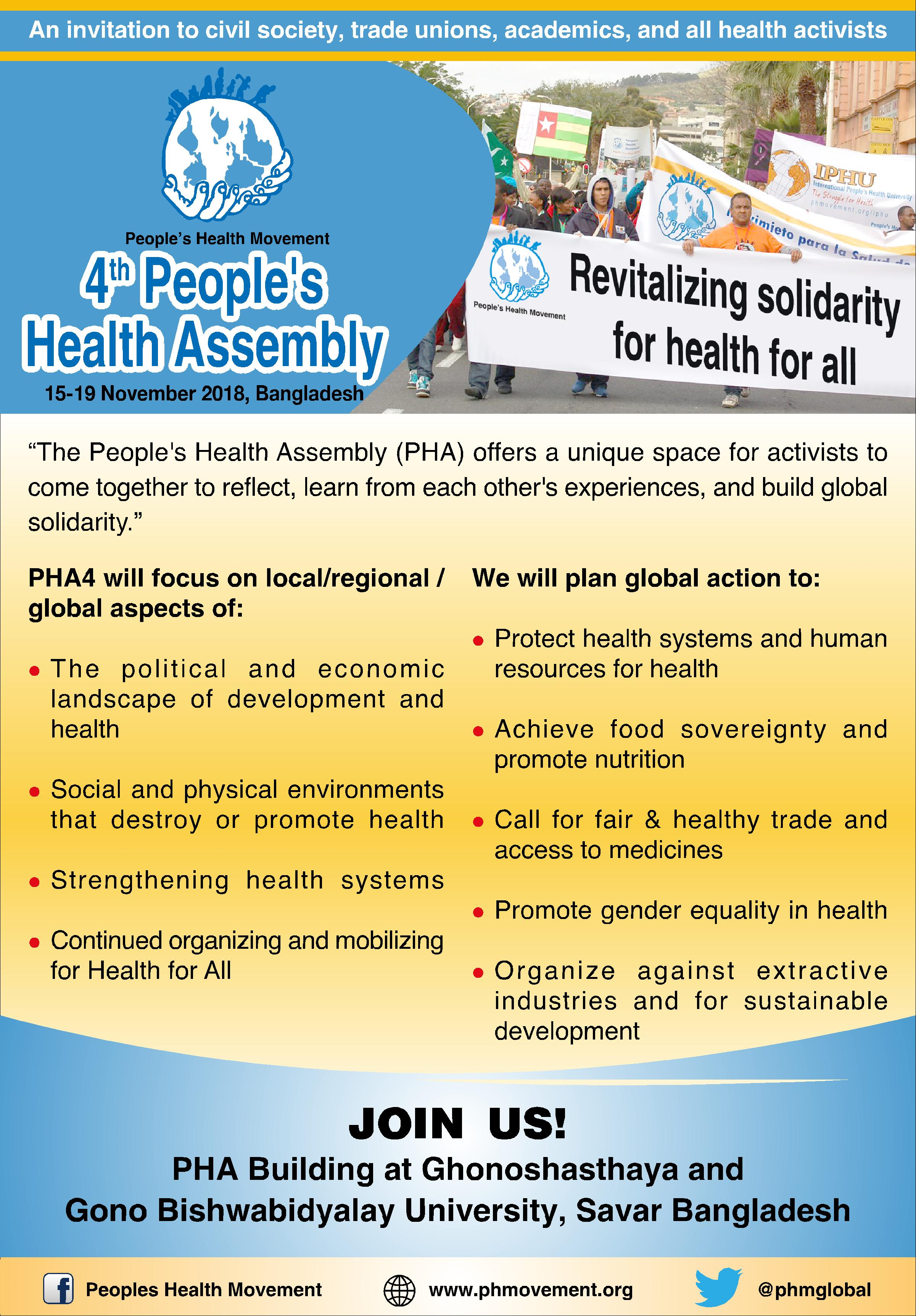 Let's Mobilise for PHA4! - People's Health Movement